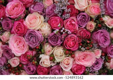 Pink Purple Roses Wedding Flower Arrangement Stockfoto Jetzt