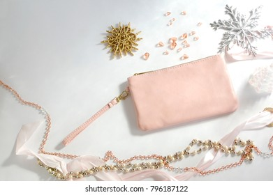 Pink Purse and Jewelry with Snowflakes