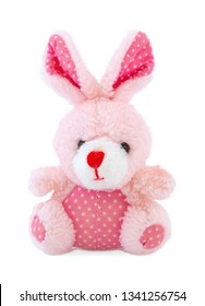 Pink rabbit plush doll isolated on white background. Rabbit plush stuffed puppet on white backdrop. Pinky stuffed rabbit toy. Easter Bunny. Easter Hare.