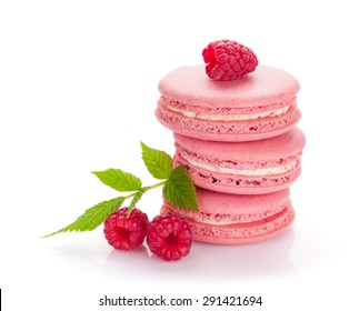 Pink raspberry macaron cookies. Isolated on white background
