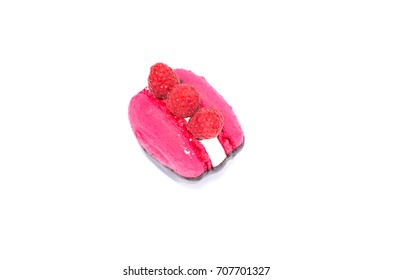 pink raspberry macaroon with chocolate on white background