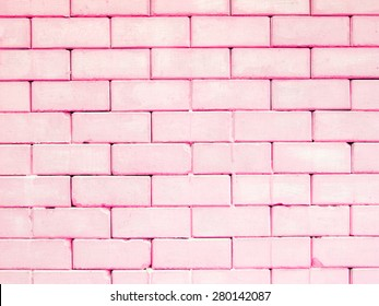 Pink rectangle brick wall, colorful and pastel background. Look like candy.