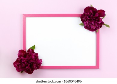 Pink rectangular frame with clean white center and peonies on sides on pastel pink background, copy space. Flat lay or side view, minimal style mockup. For gift shop, social media, website design.