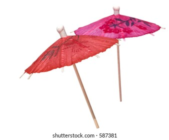 Pink and red paper drink umbrellas