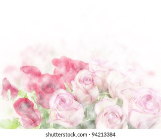 Pink And Red Roses Abstract Background