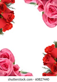 Pink and red roses at the corners of a white sheet
