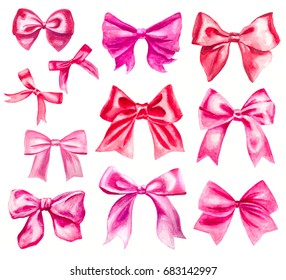 pink and red watercolor ribbon bows on white set