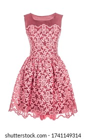Pink retro summer dress isolated on white background