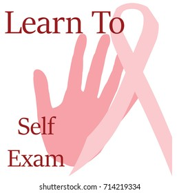 pink ribbon and hand with words on white illustration