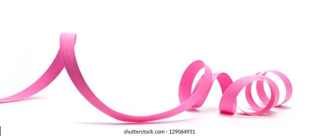 Pink ribbon over white background, design element