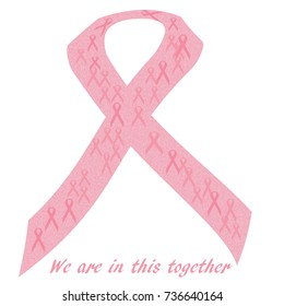 pink ribbons with words on white illustration