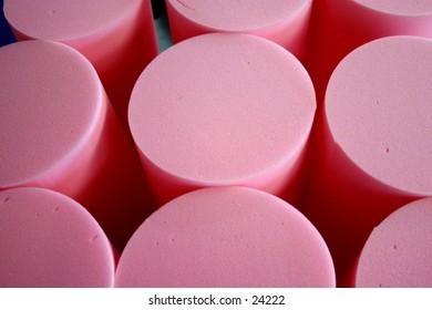 pink rolls of foam