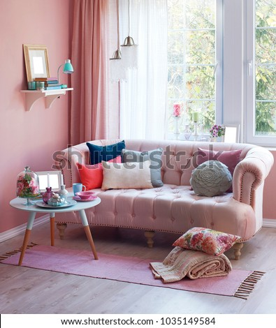Pink Room Pink Furniture Front Window Stock Photo Edit Now