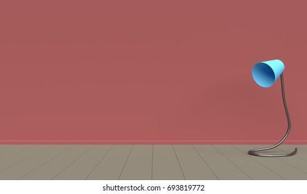 Pink Room Lamp Wood Floor 3D Render.