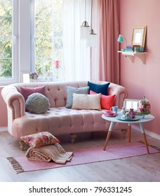 pink room sofa and middle stand concept