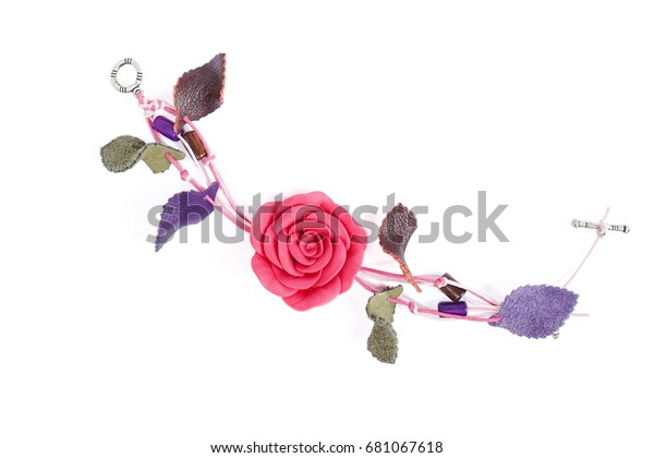 Pink Rose Accessories Made Japanese Clay Stock Photo (Edit