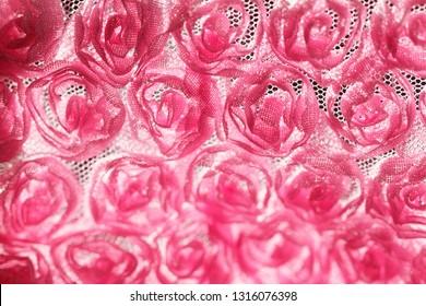 Pink rose background fabric - macro photo