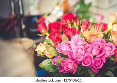 Pink rose in a bouquet