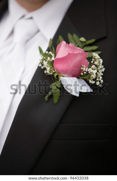 854c78dc0253 Pink Rose Boutonniere Flower On Grooms Stock Photo (Edit Now) 96432038
