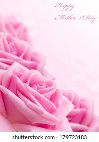 Pink rose. Card by Mother`s Day. Selective focus.