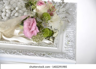 pink rose flower white frame