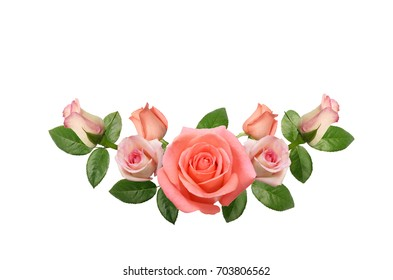 Pink rose flowers arrange on white background.Soft focus.Vintage tone picture.