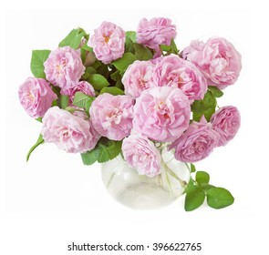Pink rose flowers bunch isolated on white background