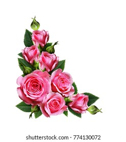 Pink rose flowers corner arrangement isolated on white background