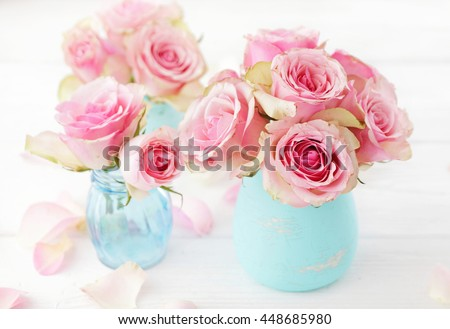 Shabby Chic Colors For Walls : Pink rose flowers vase shabby chic stock photo edit now