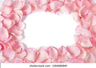 pink rose petals background with copy space, frame