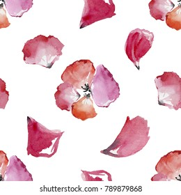 Pink rose petals. Valentine's day background. Flat lay, top view. Watercolor painting.