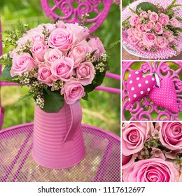 Pink roses bouquet collage