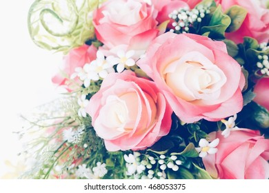 Pink roses bouquet with vintage coloring soft and sweet tone.