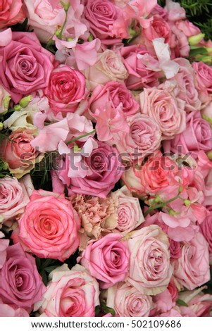 Enjoyable Pink Roses Bridal Flower Arrangement Centerpiece Stock Photo Interior Design Ideas Oxytryabchikinfo