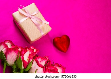 pink roses and gift