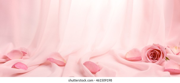 pink roses on soft silk