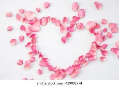 Pink roses petal heart shaped
