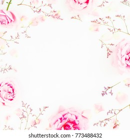 Pink roses and petals on white background. Floral frame of flowers. Flat lay, top view.