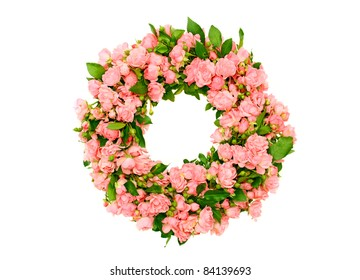 pink roses wreath isolated on white background