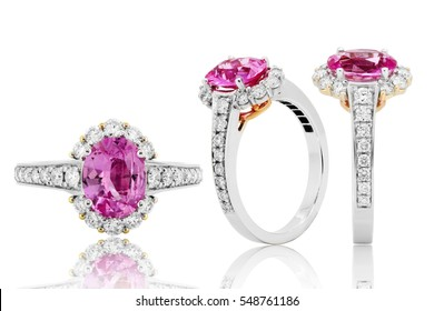 Pink ruby ring and diamond in gold, wedding jewelry