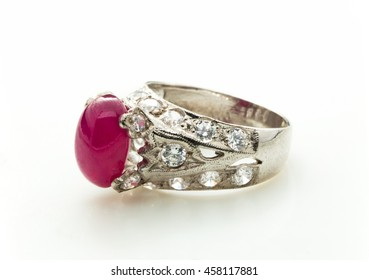 pink Ruby Ring on white background