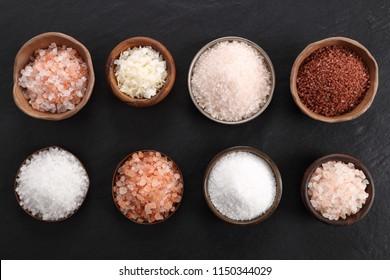 Pink salt Himalayan see salt coarse and fine. Top view.