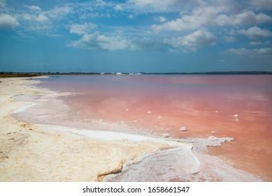 Pink salt lake in Torrevieja. Province of Alicante, Spain