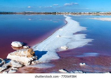 Pink salty lake and blue sky, Torrevieja, Spain