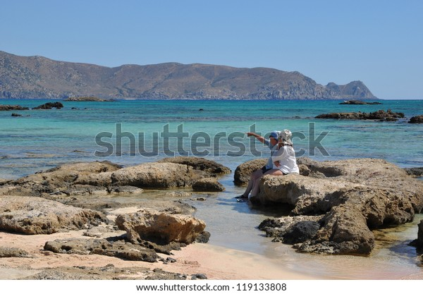 Pink Sand Beach Elafonisi Crete Greece Stock Photo Edit Now