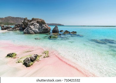 The Pink Sand of Elafonisi Beach in the Southwest of Crete Island