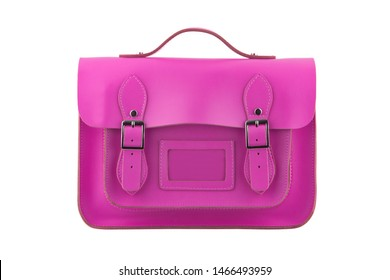 A Pink Satchel isolated on a white background with clipping path