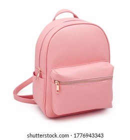 Pink School Backpack Isolated on White. Travel Daypack with Zippered Compartment. Women Mini Leather Satchel Rucksack. Girl Casual Canvas Backpack. Bag Front View with Shoulder Straps