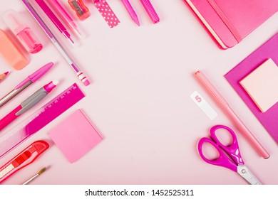 Pink school material top view