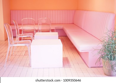 The pink seats in the pink room at pink cafe in Garosugil, Seoul, South Korea on 19 September 2017